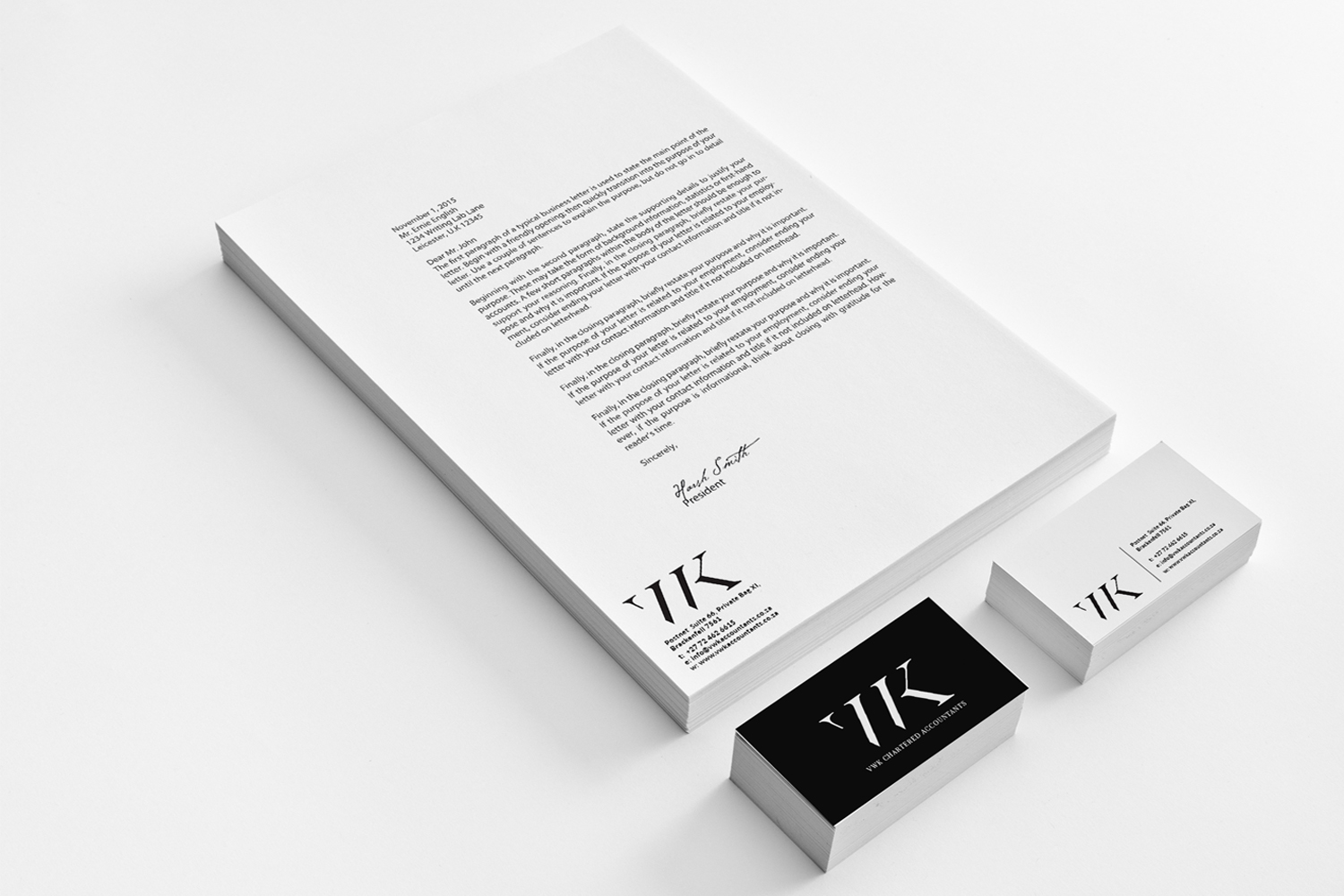 Black and White Stationary Design