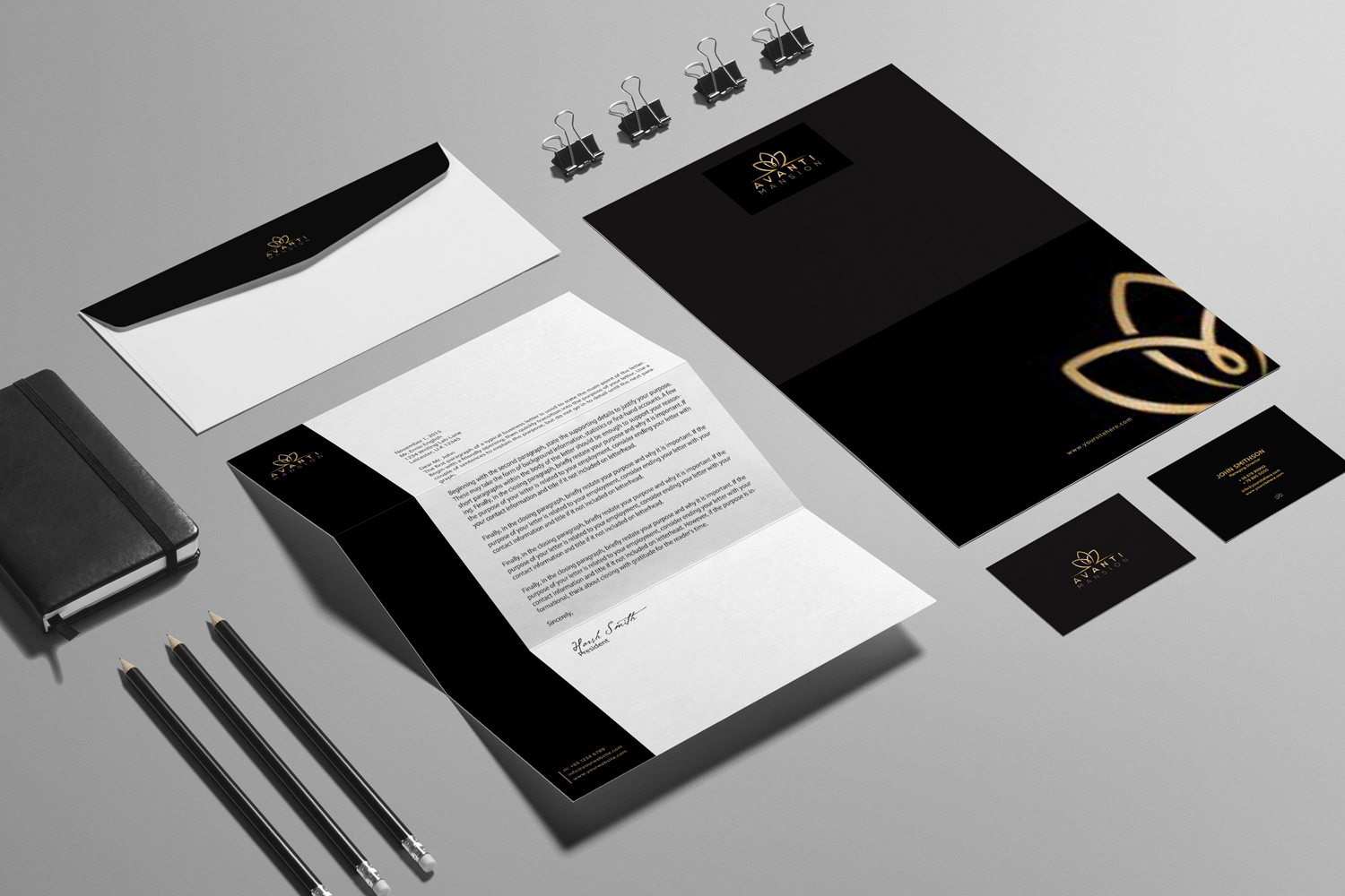 Black and Gold Luxury Stationary Design