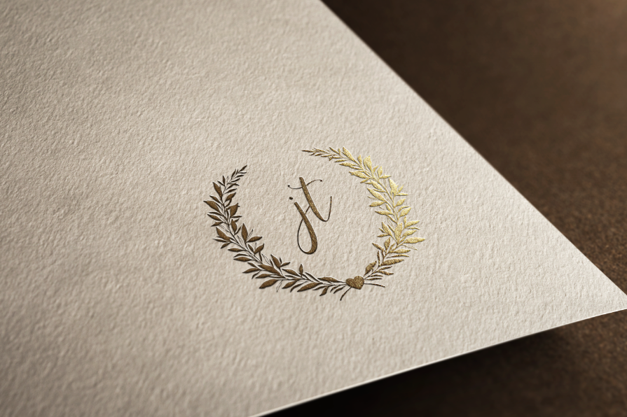 Rose gold wedding logo monogram design