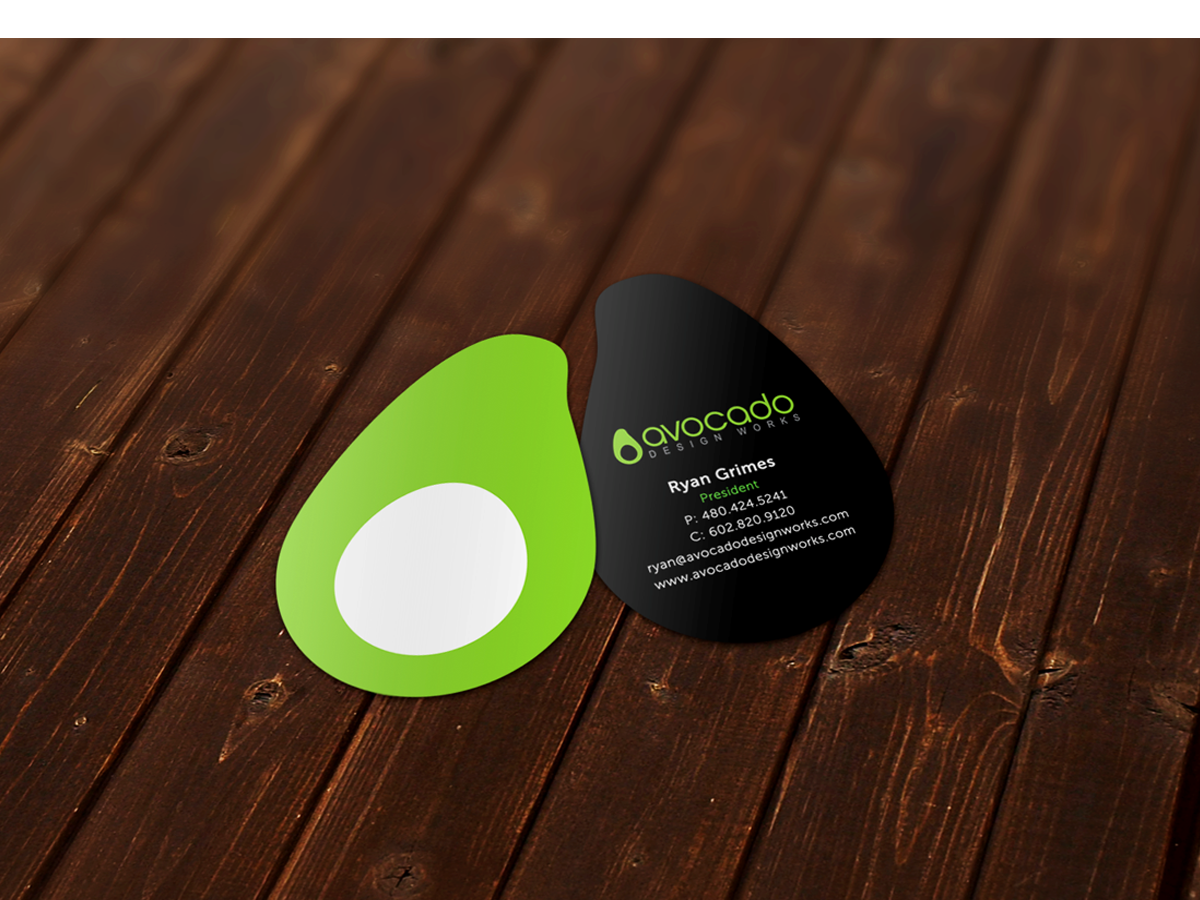 Avocado-Custom-shape-Business-Card-design